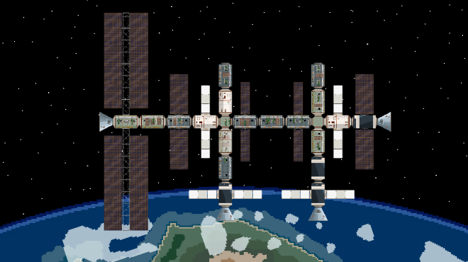 A busy Space Station with visiting Space Capsules